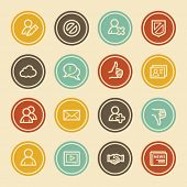 Community. Social Media Web icons, Color Circle Buttons
