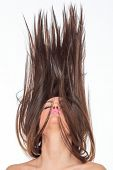 picture of hair motion  - Beautiful Healthy Girl with hair motion - JPG