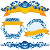 Vintage Orange Ribbon And Blue Flowers Design Elements And Page Decoration To Embellish Your Layout.