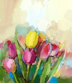 Tulips flowers oil painting