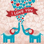 Two Cute Enamored Elephants In Love. Valentine's Day Card, Greeting Card