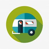 Travel Trailer Flat Icon With Long Shadow