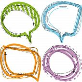 Collection Of Hand Drawn Doodle Style Speech Bubbles On White Background