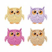 Set of cartoon owls for wisdom or education concept design. All birds are isolated on white backgrou