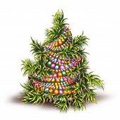 Vector illustration of Christmas fir-tree on white background