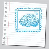 Brain on postal stamp