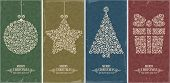 image of xmas star  - Set of vintage card with Christmas decorations - JPG