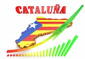 Map Illustration Of Catalonia With Flag