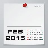 Simple 2015 year vector calendar : February 2015
