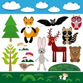 Funny Set Of Cute Wild Animals, Forest And Clouds. Fox, Bear, Rabbit, Raccoon, Bat, Deer, Owl, Bird.