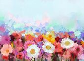 picture of daisy flower  - Colourful Gerbera flowers oil painting - JPG