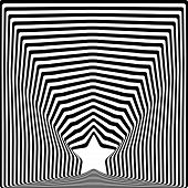 Star Black Stripes Optical Illusion Visual Art Effect.