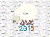 Funny sheep on seamless sheep pattern Happy new year 2015 : vector illustration