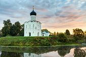 Church Of Intercession Of Holy Virgin On The Nerl River At Dawn. Russia
