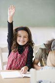 Girl raising hand in class
