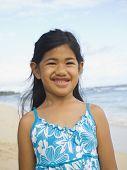 Pacific Islander girl at beach