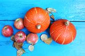 Red Apples With Orange Pumpkins On Old Wooden Table