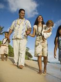 pic of pacific islander ethnicity  - Pacific Islander family walking on beach - JPG