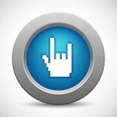 Pixel rock hand button