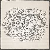 London hand lettering and doodles elements background