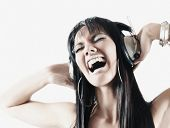 picture of pacific islander ethnicity  - Pacific Islander woman listening to headphones - JPG