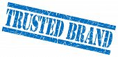 Trusted Brand Blue Square Grunge Textured Isolated Stamp
