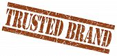 Trusted Brand Brown Square Grunge Textured Isolated Stamp