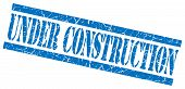 Under Construction Blue Square Grunge Textured Isolated Stamp