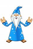 Blue Old Wizard Character