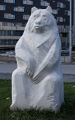 picture of novosibirsk  - A white statue of a sitting bear of stone in the park opposite to Krasny Fakel  - JPG