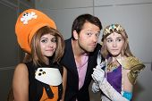 MOSCOW, RUSSIA, October 4: Actor Misha Collins and Comic Con attendee poses in the costume during Comic Con 2014 at The Crocus Center on October 4, 2014 in Moscow, Russia.