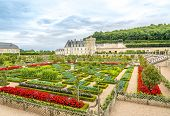 Castle Villandry With Colorful Garden.