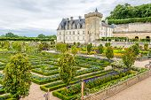 Colorful Garden With Castle Villandry.