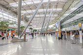 DUSSELDORF - SEP 16: airport interior on September 16, 2014 in Dusseldorf, Germany. Dusseldorf Airport located approximately 7 kilometres north of downtown Dusseldorf