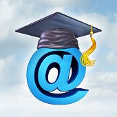 image of ampersand  - Internet education concept as a three dimensional image of an ampersand wearing a graduation mortar cap as a symbol of new online learning tools and computer educational progrms - JPG