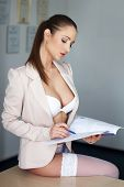 Sexy Secretary In Underwear On Desk