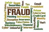 stock photo of deprivation  - Fraud word cloud on white background - JPG