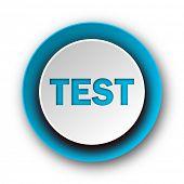 test blue modern web icon on white background