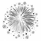 Vector Black And White Abstract Anniversary Bursting Fireworks