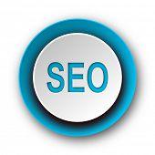 seo blue modern web icon on white background