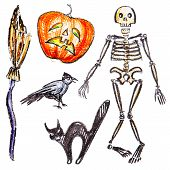 Vector Hand Pictured Halloween Objects