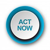 act now blue modern web icon on white background