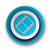 film blue modern web icon on white background