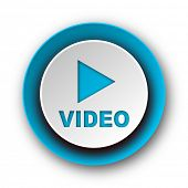 video blue modern web icon on white background