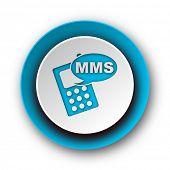 mms blue modern web icon on white background