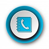 phonebook blue modern web icon on white background