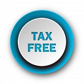 tax free blue modern web icon on white background