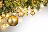 Closeup of Christmas tree decorations