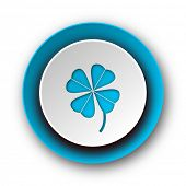 four-leaf clover blue modern web icon on white background