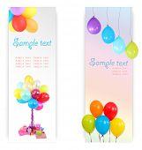 Birthday postcard. Colorful balloons